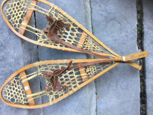 Vintage Wood Gros Louis Snowshoes Wood And Leather ------FIRM---