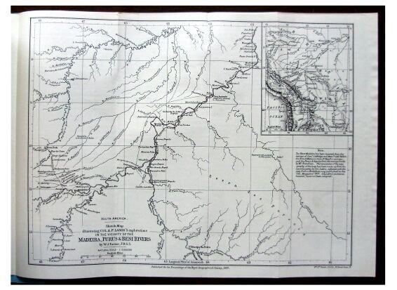 1889 Labre - BRAZIL - Bolivia - RAILROAD - Navigation - BENI - Purus - MAP - 8