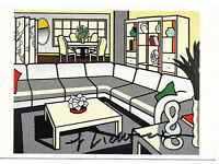 ROY LICHTENSTEIN - 'Interior with African mask' - hand signed art postcard