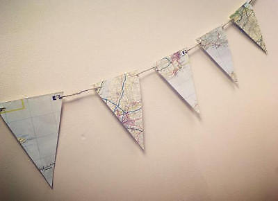 Recycled Map Paper Bunting - special occasion or home decoration, weddings