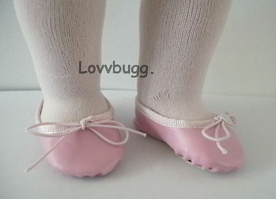 "Lovvbugg Pink Ballet Class Slippers for 18"" American Girl or Bitty Baby Doll Shoes"