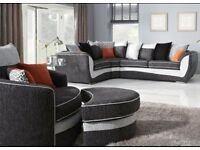 SCS corner settee and swivel cuddle chair only three years old Grey black silver orange animal print
