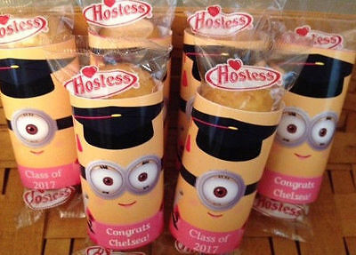 12 Graduation Party Favors Minion Girl Twinkies Wrappers Labels  (Minion Favors)