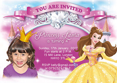 10  Personalised Photo Birthday Invitations or Thank you Cards Princess Belle
