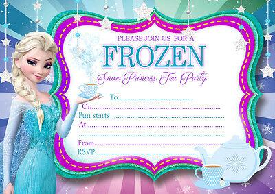 10 x Disney Frozen Children Party Invitations Elsa The Snow Queen Tea Party ()