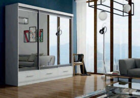 Brand New High Quality Large Mirrored PARIS GERMAN Sliding Wardrobe with Drawers IN 2 SIZES