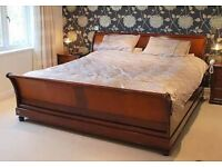 """Emperor size """"And So to Bed"""" Sleigh Bed, Cherry Wood, complete with Mattress"""
