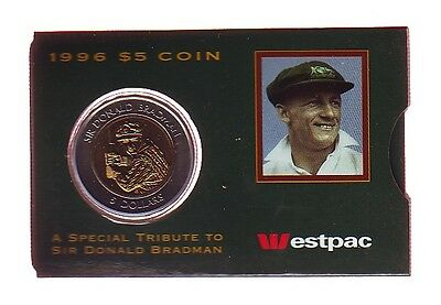 1996 Sir Donald Bradman Cricket Legend  5 Unc Coin In Westpac Bank Sleeve