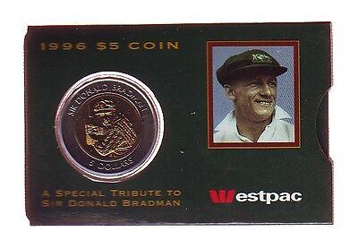 1996 Sir Donald Bradman Cricket Legend  5 Unc Coin In Westpac Bank Sleeve