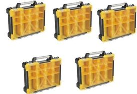 SET OF 5 SEALEY APAS12R PARTS STORAGE CASE WITH 12 REMOVABLE COMPARTMENTS