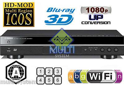 YAMAHA 2D/3D BD-S677 Wi-Fi Multi Region DVD Blu Ray Player -