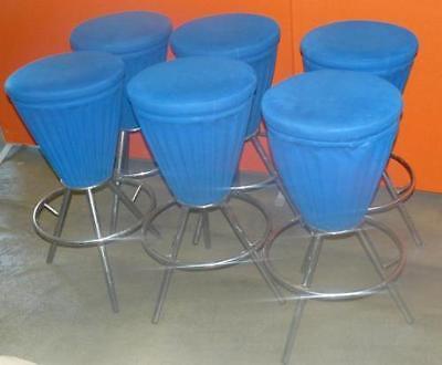 6x Eistüten-Hocker, Design Verner Panton blau, Gebrauchter Zustand  (3*609/9004)