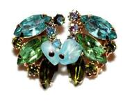 Blue Rhinestone Clip Earrings