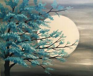 Paint Nite NL - Teal Tree in Moonlight