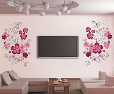 Flower Vines Tattoo (Wall Sticker Decal Flower Vine Pink Wall Tattoo Art Home Decor Living Room Bedro )