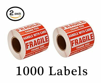 1000 Fragile Stickers 2 Rolls 2x3inch Handle With Care Thank You Shipping Labels