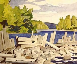 """""""Old Dam"""" Lithograph by A.J. Casson appraised at $650"""