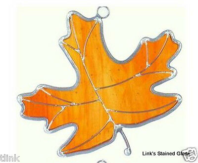 Amber Maple Leaf Stained Glass Sun Catcher Ornament