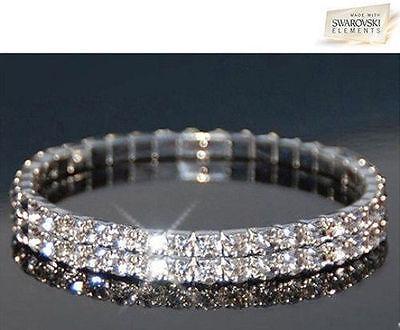 Swarovski Elements Clear Crystal Double Row Stretch Bracelet NEW...., Double Row Crystal