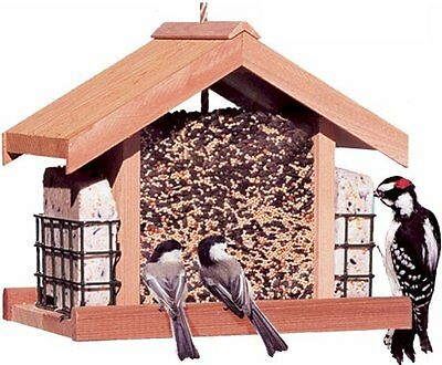 New Deluxe Wood Outdoor Bird Feeder Large 5 lb Capacity Pole Hanging Food Chalet