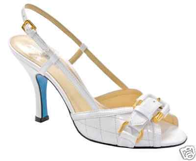 135 Stella Blu Buckle Patent Leather Heels Slingback   New   White Size 9