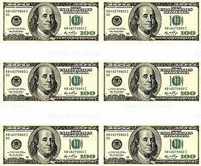 Dollar Bill Cake (100 Dollar Bill - Designer Strips - Edible Cake Side Toppers (3)