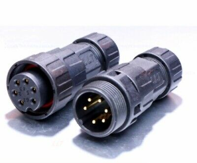 Waterproof Connector LLT-USA M25 IP68 6 Pin Rear Panel Mount Female Male Plugs (25 Pin Male Connector)
