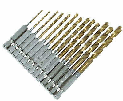 "13 PIECE 1/4"" TITANIUM COATED HSS DRILL BIT SET FOR WOOD OR METAL POWER BIT SET"