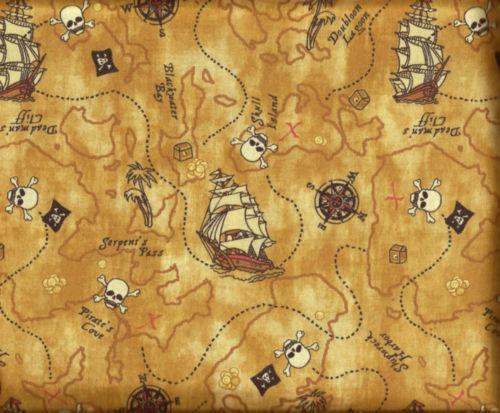 Pirate treasure fabric ebay for Kids pirate fabric