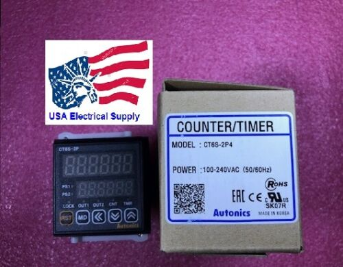 AUTONICS CT6S-2P4 Counter&Timer, 6 Digit, LED, Relay & NPN Output, 100-240VAC