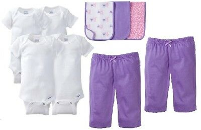 Gerber Baby Girl 9-Piece White Onesies, Purple Pants & Bibs Bundle Clothes 0-3M