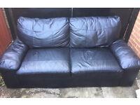 Black 3 seat leather sofa