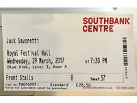 Jack Savoretti Royal Festival Hall Tonight 3/29 2nd ROW! 1 ticket in Front Stalls