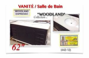 "(442-12)  VANITÉ (62"")/Salle de Bain /Collection ""WOODLAND"" 699$"