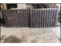 Refurbished/used solid wood double drive gates and steel fittings shown