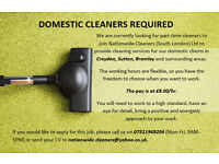 Domestic cleaners required in Sutton, Croydon and Bromley.