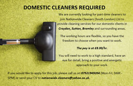 Domestic cleaners required in Sutton, Croydon and Bromley