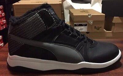 NIB MENS PUMA REBOUND STREET EVO FUR BLACK MID BASKETBALL WALKING SNEAKER SHOES Evo Mid Sneaker