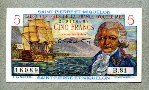 Saint-Pierre and Miquelon 5 Francs 1950 Crisp Uncirculated Pick 22a