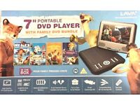 "Lava 7"" portable DVD player with 4 DVD pack"