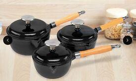 3 Piece Cast Iron Saucepan Set | Cooks Professional Black Non Stick Pots - Cookware - BRAND NEW!