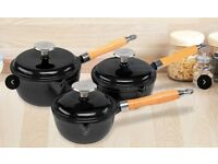 3 Piece Cast Iron Saucepan Set | Cooks Professional Black Non Stick Pots - Cookware - BRAND NEW!