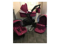 kindercraft travel system pram pushchair 3in1 purple car seat changing bag stroller buggy