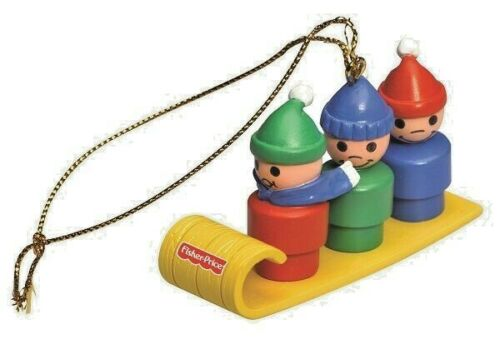 Fisher-Price Christmas Ornament LITTLE PEOPLE TOBOGGAN Sled Holiday Retired NIB