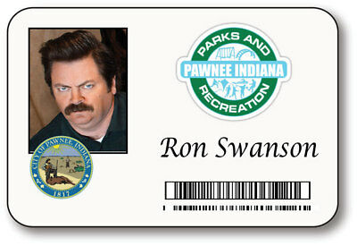 Ron Swanson Halloween (RON SWANSON PARKS & RECREATION NAME BADGE HALLOWEEN PROP PIN)