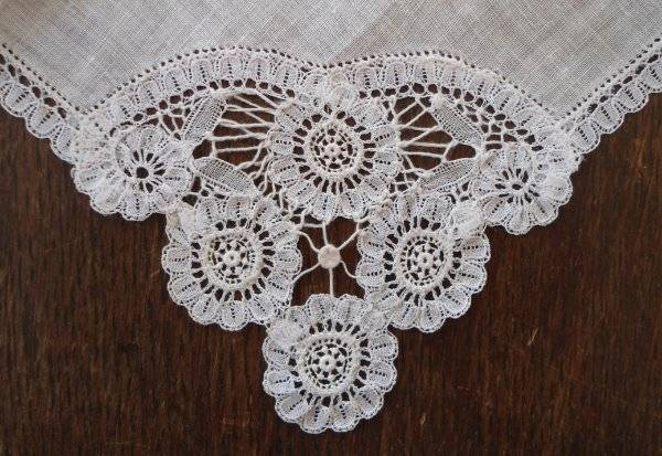 True Vintage Brussels Lace Wedding Hanky Handmade White Bridal Linen