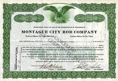 Montague City Fishing Rod Company Stock Certificate