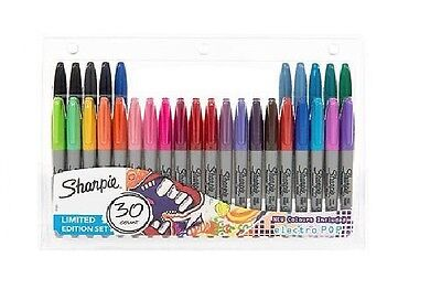 SHARPIE 30 PACK FINE PERMANENT MARKERS PENS LIMITED EDITION SET NEW WORK SCHOOL