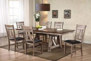 Dining  set Blow out at Splendid furnishings!! Distressed Finish, Dark Brown 7 Pc Dining Set Promotion