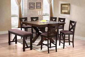 BISTRO TABLE WITH 4 CHAIRS AND 4 FOOT BENCH